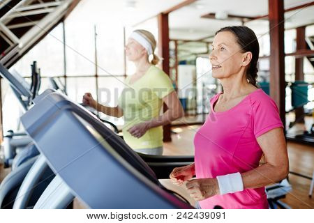 Two active and helathy sportswomen exercising on treadmills in modern fitness center