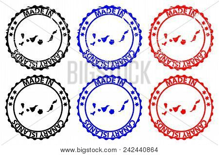 Made In Canary Islands - Rubber Stamp - Vector, Canary Islands(islas Canarias) Map Pattern - Black,