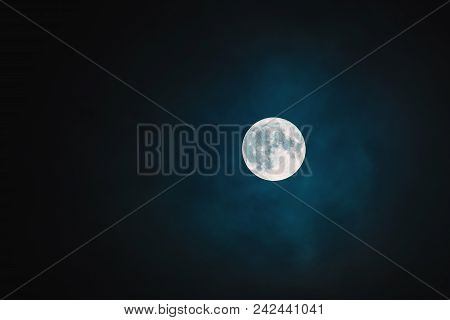 Beautiful Full Moon: A White Disk Of The Moon On A Black Sky With Reliefs Of The Surface Of The Moon