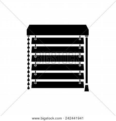 Closed Blinds On The Window Black Silhouette. Jalousie Pictogram Isolated On Background. Vector Illu