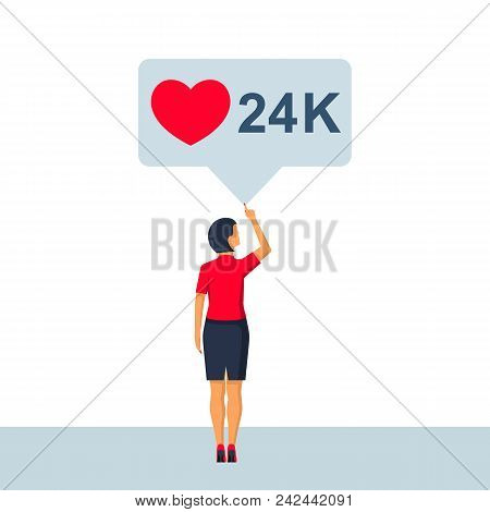 Social Media Bubble. Young Woman In A Social Network. Friends Likes And Comments. Vector Illustratio