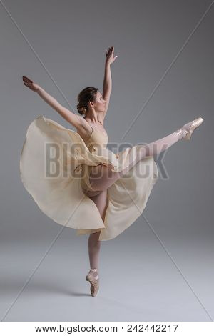 Dancing Is Creating A Sculpture! Beautiful Graceful Delicate Young Woman Dancing And Showing The Bea
