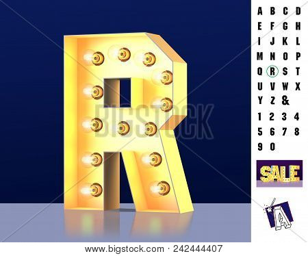Letter R From Alphabet. Glowing Letter R. Bulb Type R. 3d Illuminated Light Bulb Symbol Letter R. Re