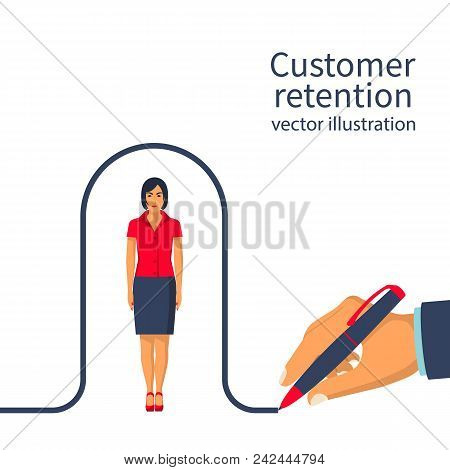 Businessman Draws A Line Covering The Client. Customer Retention Concept. Customer Care. Providing S