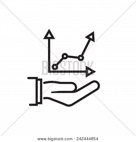 Growth Concept. Man Hold In Hand Business Chart Black Silhouette. Financial Diagram, Graphics. Vecto