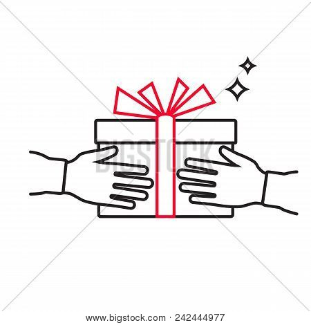 Minimal Design Black Line. Give Gift. Silhouette Of A Hand With A Gift. Gift Box With A Red Ribbon.