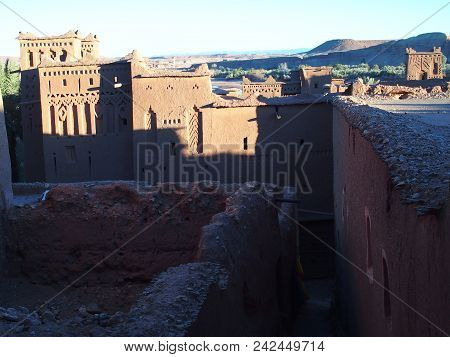 Medieval Kasbah Ait Ben Haddou Or Benhaddou Fortified City With Evening Sun Light On Walls, African