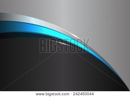 Abstract Blue Line Curve On Black Gray Desigm Modern Futuristic Background Vector Illustration.