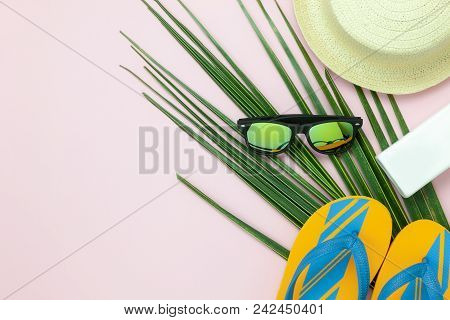 Table Top View Aerial Image Of Items To Travel Summer Holiday Background Concept.flat Lay Essentials