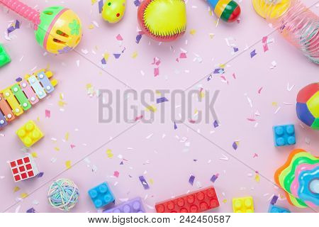 Flat Lay Objects Baby Toys For Development Background Concept.table Top View Variety Decorations For