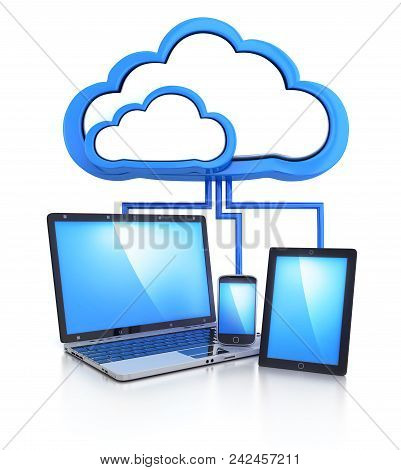 Laptop, Phone, Pad And Cloud Storage Connect. 3d Illustration