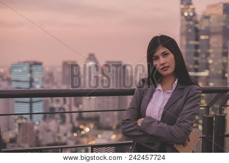 Business Concept. Asian Businesswoman Looking At Book. Young Businesswoman Is Happy To Read. Young B