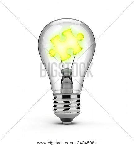 Light bulb and a glowing puzzle piece - ideas and solutions concept