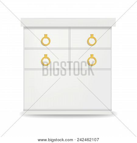 Hight White Drawer Mockup. Realistic Illustration Of Hight White Drawer Vector Mockup For Web Design