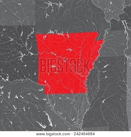 U.s. States - Map Of Arkansas. Hand Made. Rivers And Lakes Are Shown. Please Look At My Other Images