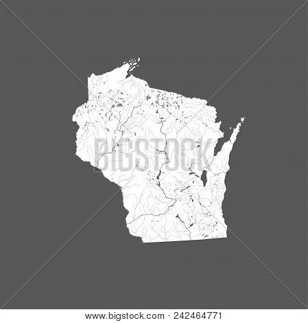 U.s. States - Map Of Wisconsin. Hand Made. Rivers And Lakes Are Shown. Please Look At My Other Image