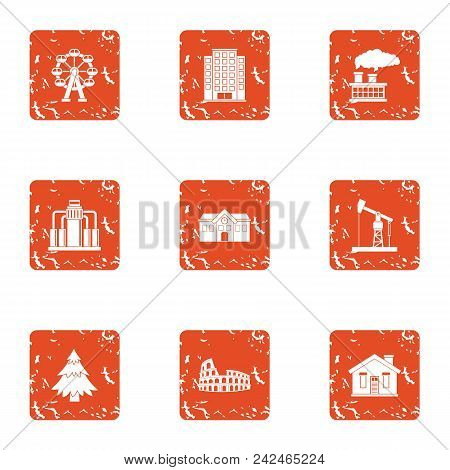 Power Supply Icons Set. Grunge Set Of 9 Power Supply Vector Icons For Web Isolated On White Backgrou
