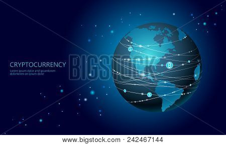 Planet Earth Cryptocurrency Bitcoin Sign. Online Internet Network Communication Mining. Internationa