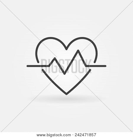 Heartbeat Outline Icon. Vector Simple Heart Beat Pulse Symbol Or Design Element In Thin Line Style