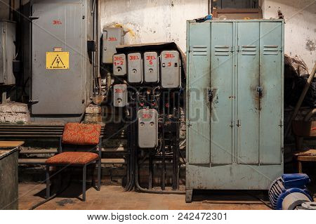 Old Vintage Electrical Control Panels, Electricity Control Lockers Ro 380 Volts