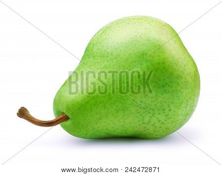 Fresh Green Pear Fruit Isolated On The White Background With Clipping Path. One Of The Best Isolated