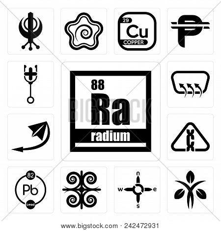Set Of 13 Simple Editable Icons Such As Radium, Dietitian, N S E W, , Chemical, Carcinogen, Telegram