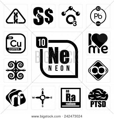 Set Of 13 simple editable icons such as neon, ptsd, radium, n s e w, nf, html infinity, , copper can be used for mobile, web UI poster
