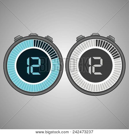 Electronic Digital Stopwatch 12 Seconds Isolated On Gray Background.stopwatch Icon Set. Timer Icon.