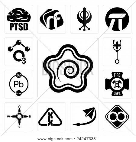 Set Of 13 simple editable icons such as hanamaru, html infinity, telegram, carcinogen, n s e w, fire dept, chemical, doctor, chemical can be used for mobile, web UI poster