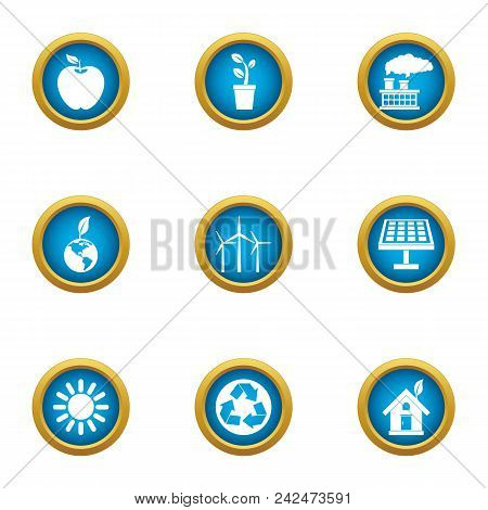 Pure World Icons Set. Flat Set Of 9 Pure World Vector Icons For Web Isolated On White Background