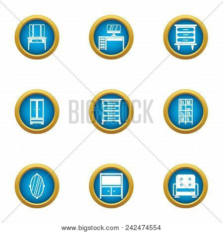 Furniture In The Room Icons Set. Flat Set Of 9 Furniture In The Room Vector Icons For Web Isolated O