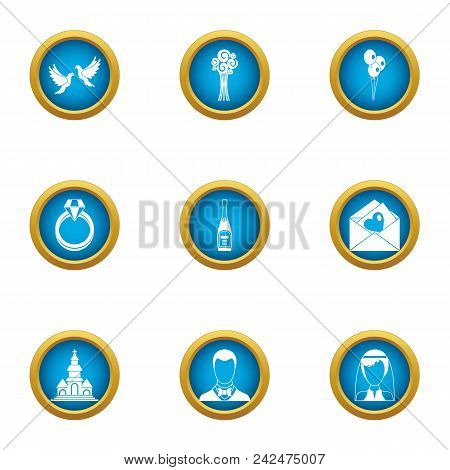 Married Couple Icons Set. Flat Set Of 9 Married Couple Vector Icons For Web Isolated On White Backgr