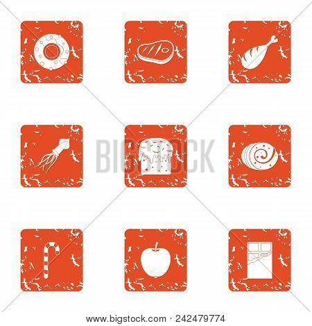 Satiate Icons Set. Grunge Set Of 9 Satiate Vector Icons For Web Isolated On White Background