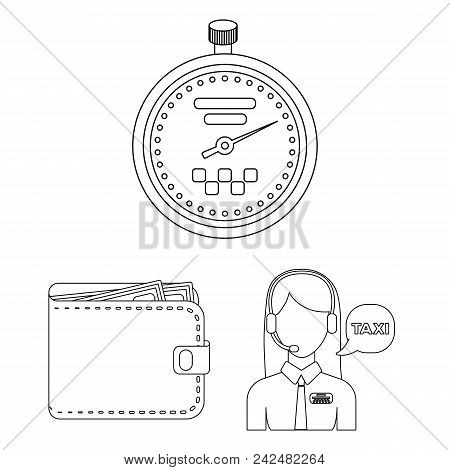 Taxi Service Outline Icons In Set Collection For Design. Taxi Driver And Transport Vector Symbol Sto