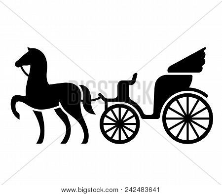 Vintage Horse Drawn Carriage. Stylized Silhouette Of Horse And Passenger Buggy. Black And White Isol