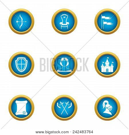 Medieval Kingdom Icons Set. Flat Set Of 9 Medieval Kingdom Vector Icons For Web Isolated On White Ba