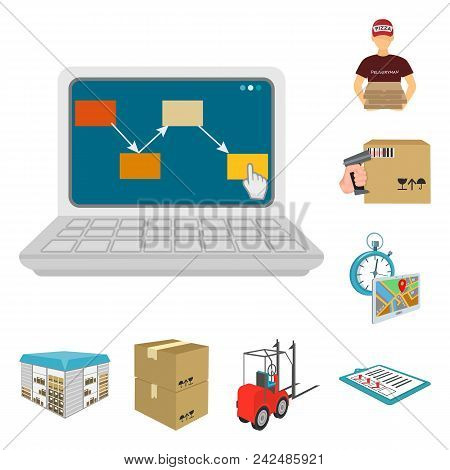 Logistics And Delivery Cartoon Icons In Set Collection For Design. Transport And Equipment Isometric