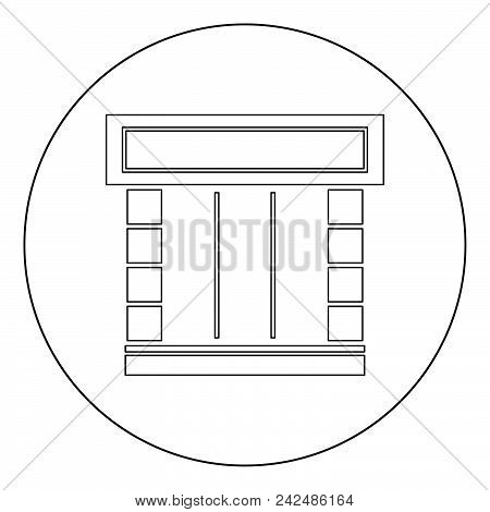 Shopfront Icon Outline Black Color In Circle Vector Illustration