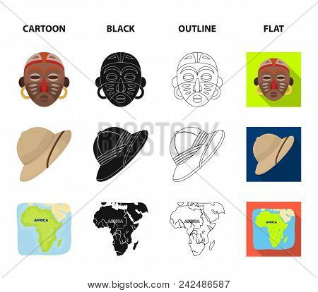 Cork Hat, Darts, Savannah Tree, Territory Map. African Safari Set Collection Icons In Cartoon, Black