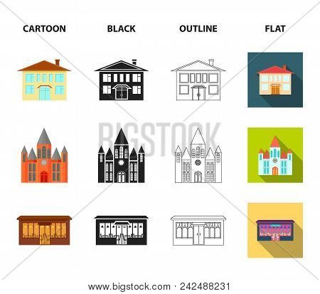 House Of Government, Stadium, Cafe, Church.building Set Collection Icons In Cartoon, Black, Outline,