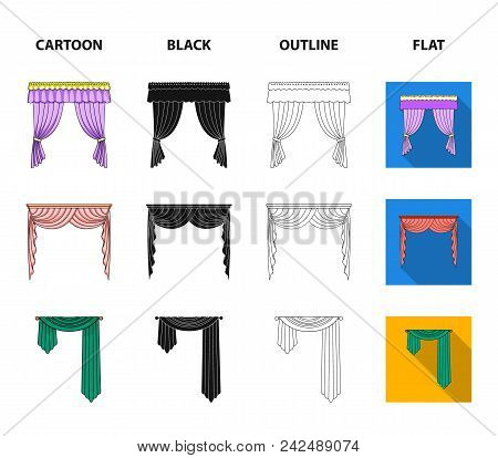 Different Types Of Window Curtains.curtains Set Collection Icons In Cartoon, Black, Outline, Flat St