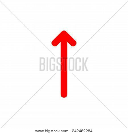 Red Arrow Up With Rounded Corners On A White Background