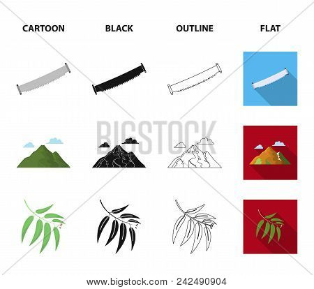 Mountain, Cloud, Tree, Branch, Leaf.forest Set Collection Icons In Cartoon, Black, Outline, Flat Sty