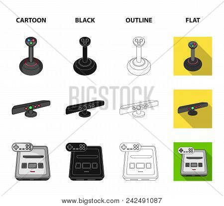Game And Tv Set-top Box Cartoon, Black, Outline, Flat Icons In Set Collection For Design.game Gadget