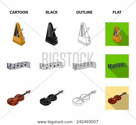 Musical Instrument Cartoon, Black, Outline, Flat Icons In Set Collection For Design. String And Wind