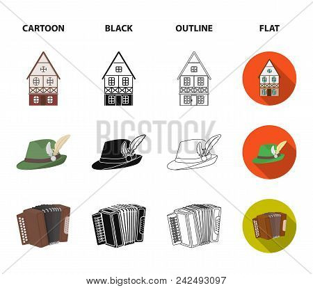 Tyrolean Hat, Accordion, Dress, Pretzel. Oktoberfestset Collection Icons In Cartoon, Black, Outline,