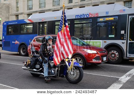 Washington DC / United States of America - 11 November 2015: Motorcycle during Veterans Day in Washington DC. Veterans Day Parade is a tradition in the City.