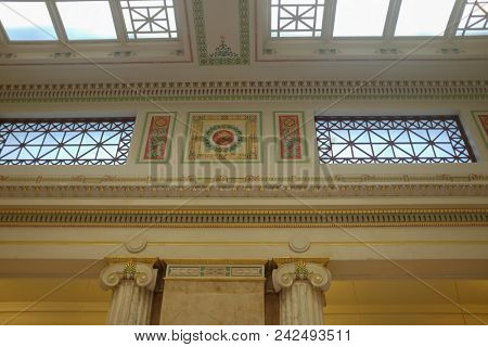 Washington D.C. / United States - NOVEMBER 26 2016: The Union Station Interior details. The Station is a major train station, transportation hub in the City.