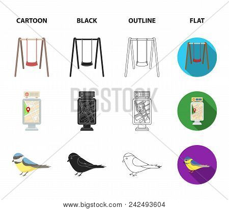 Territory Plan, Bird, Lake, Lighting Pole. Park Set Collection Icons In Cartoon, Black, Outline, Fla