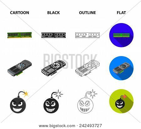Video Card, Virus, Flash Drive, Cable. Personal Computer Set Collection Icons In Cartoon, Black, Out